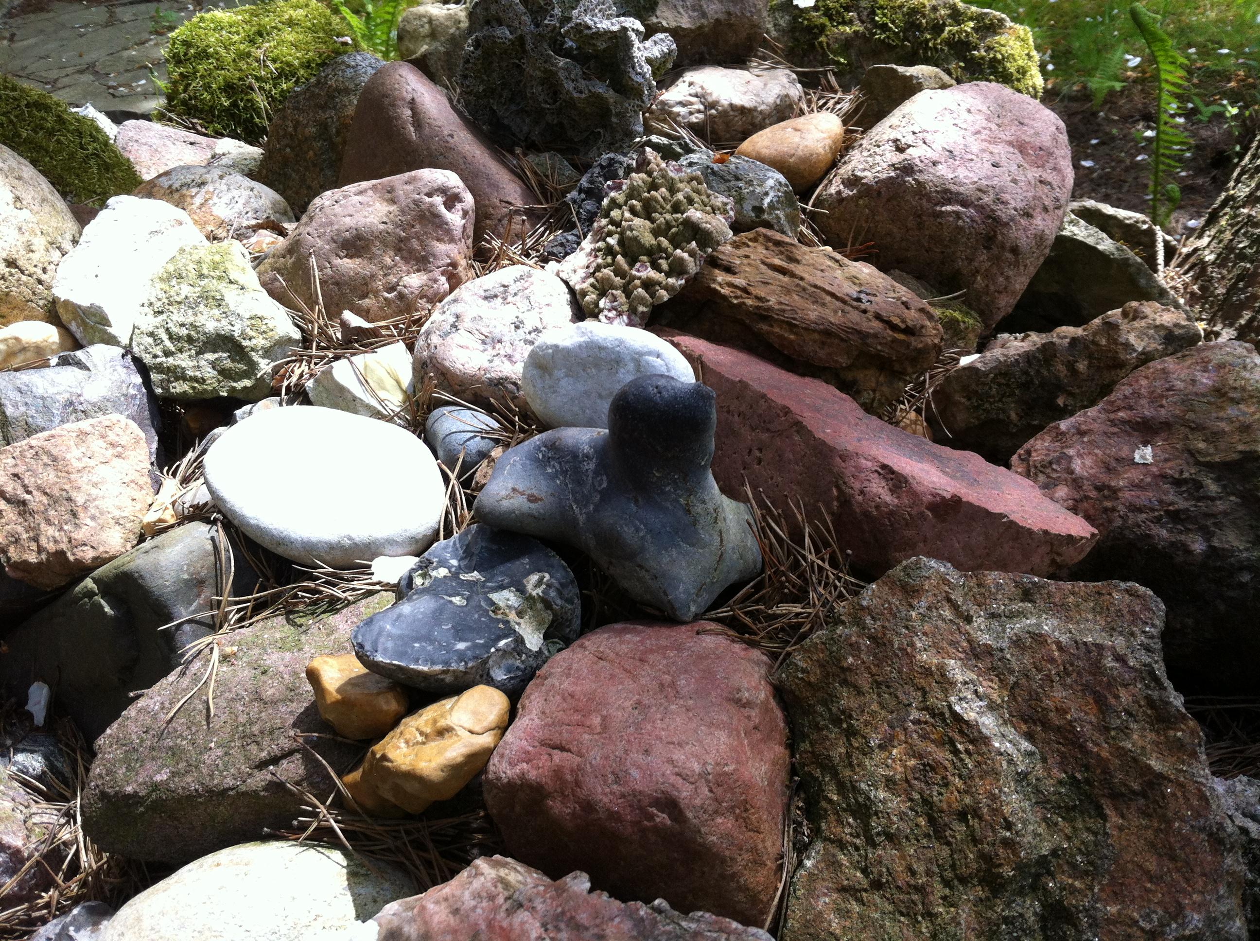 Wie eine kleine Robbe sieht der schwarze Stein aus.  Von allen Drehorten brachte sich der Schauspieler Steine mit